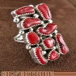 Coral and Genuine Sterling Silver Native American Navajo Ring