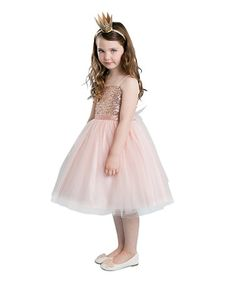 This Blush Sequin Dress - Toddler & Girls is perfect! #zulilyfinds