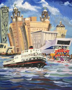 Another amazing acrylic study of the Liverpool ferries from Collette Collinge Liverpool Waterfront, Liverpool Town, Affordable Art, Colours, Watercolor, Artist, Study, Painting, Amazing