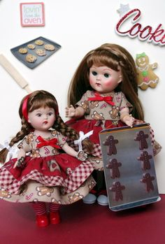 "~Catch Me If You Can!~ a special Gingerbread dress with matching bloomers for Vogue Ginny 7.5"" dolls and Vogue Mini Ginny 5.5"" Dolls. New and at my website now for instant purchase. Outfits sold under separate categories. Click the pix to take you to the Ginny one."