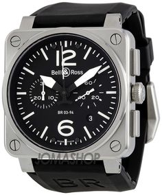 Bell and Ross Aviation Black Dial Chronograph Automatic 42MM Mens Watch BR-03-94-STEEL $3,604