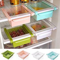 Amazon.com: Refrigerator Organizer Drawers, Storage Bins For Kitchen,  Pantry, Freezer, Egg Holder, Fridge Spacer Shelf With Lid: Kitchen U0026 Dining