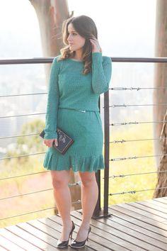 vestido-verde-renda-babados-scarpin-preto-book-clutch-look-do-dia-drops-das-dez-laina-laine-1
