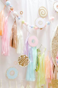 Pastel Donut Birthday Party, Pastel Donut Birthday Occasion Pastel bunting + donut banner from a Tissue tassel garland from a Pastel Donut Birthday Occasion on Kara's Occasion Con. 2nd Birthday Party Themes, Donut Birthday Parties, Donut Party, Baby First Birthday, Birthday Party Decorations, Birthday Ideas, Grown Up Parties, Girl Parties, Donut Decorations