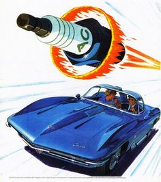 """CARS Advertising Illustration - """"'AC' Fire-Ring Spark Plugs"""", used in the 'Shark Corvette Chevrolet' Concept car - Original Vintage Illustration Ad. 1960s Advertising, Vintage Advertisements, Vintage Ads, Vintage Prints, Vintage Posters, Vintage Travel, Chevrolet Impala, Chevrolet Monza, Chevy"""