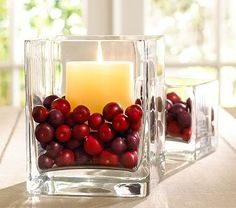 cranberry christmas candle - could use for inside fireplace