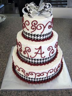 Ever So Sweet: Houndstooth & Zebra Alabama Birthday Cakes, Alabama Grooms Cake, Alabama Cakes, Unique Cakes, Houndstooth, Wedding Cakes, Birthdays, Sweets, Roll Tide