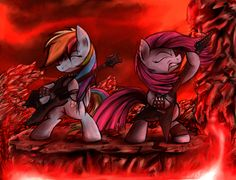 "elrincondelpony: "" South of Equestria by HeavyMetalBronyYeah "" Dashie is playing the same guitar as me yaay, the funny thing is that i have a Dashie, a 20% cooler and her cutie mark as stickers on my..."