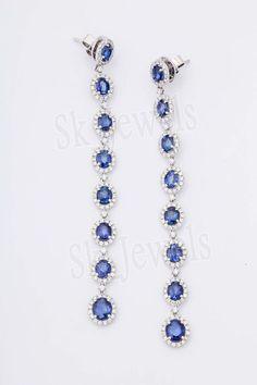 5.12ct NATURAL DIAMOND SAPPHIRE 14K WHITE GOLD WEDDING ANNIVERSARY EARRING  #Sk_Jewels #DropDangle