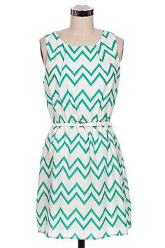 Belted Double Chevron Dress in Mint Paisleypeaboutique.com