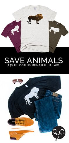 Save animals with our endangered species t-shirts! 25% of profits are donated to the International Fund for Animal Welfare. Shop: www.causeyoucarecom #fashion