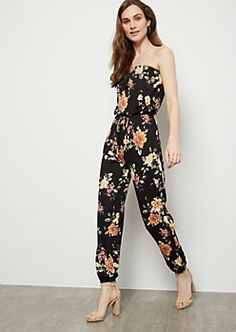 6f4d43cd91ed66 Black Floral Print Super Soft Tube Top Jumpsuit