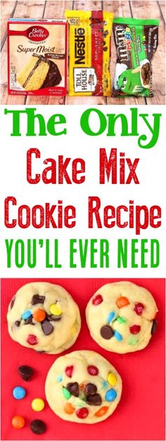 Cake Mix Cookies Recipes! This easy chocolate chip cookie is loaded with M&M'S and just 5 ingredients!