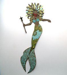 Tribal Warrior Mermaid Paper Doll, Black Mermaid Doll, African American Mermaid…