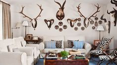 Deer Hunting Decor, Trophy Rooms, Game Room, Living Room Designs, Sweet Home, Gallery Wall, Antlers, Interior Design, Taxidermy