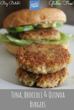Tuna Broccoli and Quinoa Burgers Gluten Free Big Gf Recipes, Baby Food Recipes, Vegetarian Recipes, Cooking Recipes, Healthy Recipes, Paleo Food, Protein Recipes, Delicious Recipes, Free Recipes