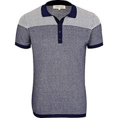 Blue colour block pattern knitted polo shirt - polo shirts - t-shirts / vests - men