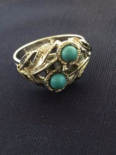 Vtg Sarah Coventry Faux Blue Turquoise Cab Silver Tone Leaf Ring | eBay