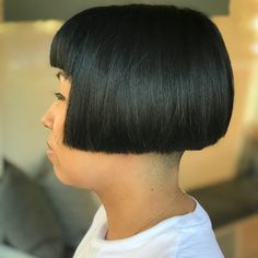 This haircut has some MOVES baby! Wanna see? SWIPE➡️➡️ Fun, bold and beautiful. This is a precision haircut that says YES, I'm a total badass! Great Hairstyles, Bob Hairstyles, Hair Dye Colors, Hair Color, Short Hair Cuts, Short Hair Styles, Baby Bangs, Shaved Nape, Bob Haircut With Bangs