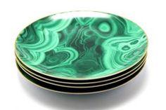 L'Objet - Malachite Canape Plate - Limoges Porcelain 24K Gold - D15cm