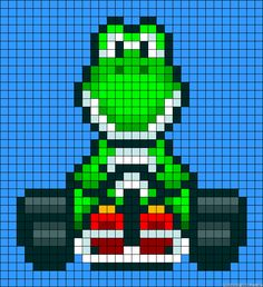 Yoshi Mario Kart Pixel Art Yoshi my man, I always choose you in Mario Kart 8 Wii U Respect Perler Beads, Perler Bead Mario, Beaded Cross Stitch, Cross Stitch Patterns, Cross Stitch Embroidery, Pearler Bead Patterns, Perler Patterns, Super Mario, Mario Kart