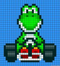 Mario Kart Yoshi perler bead pattern