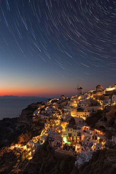 ~~The stars above us ~ night descends upon Oia, Santorini, Greece by Nikola Totuhov~~