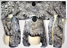 Black scarf Feathers long silk scarf hand painted by MinkuLUL