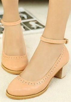 Cute Pink Chunky Heel Shoes