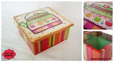 Decoupage, Pintura Country, Country Crafts, Vintage Wood, Tea Time, Decorative Boxes, Basket, Packaging, Baby Shower