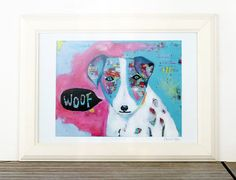 Woof Charity Art Print Colorful Animal Art Dog Art by coocoovaya Nursery Decor, Wall Decor, Wall Art, Dog Paintings, Original Paintings, Colorful Animals, Dog Illustration, Dog Art, Art For Kids