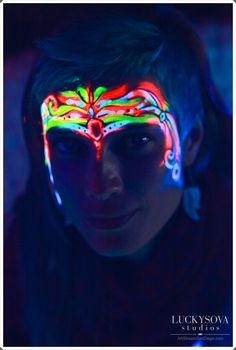 Art by Lana Chromium, face painting in UV colors, Blacklight paint, event make up, creative make up, face art, San Diego, Los Angeles, glow in the dark, face paint, halloween, party, event, comic con costume ideas