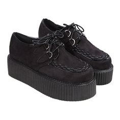 Fashion Suede Creepers ($16) ❤ liked on Polyvore featuring shoes, creepers, oasap, black, suede leather shoes, platform lace up shoes, laced shoes, black creeper shoes and suede shoes