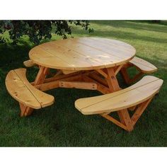 Moon Valley Cedar Works 56 in. Round Picnic Table Set: