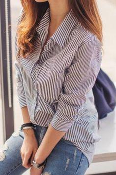 Stylish Shirt Collar Long Sleeve Striped Women's Shirt
