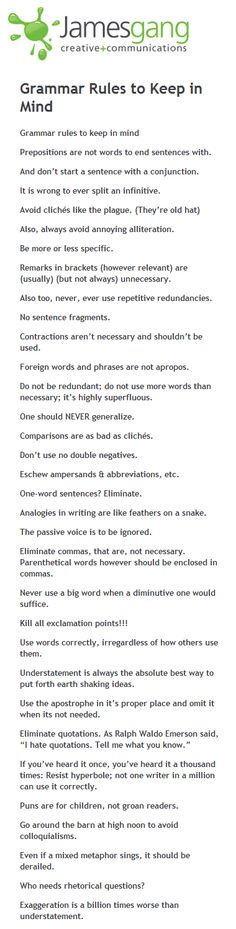 Being a writer means a certain adherence to grammar rules . Every once in a while, we get to shatter these rules to great effect. Case in po...