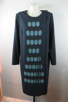 NWT Size 14 L Charlie Brown Ladies Black Wrap Coat Dress Jacket Funky Unique