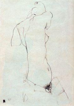 Egon Schiele nude female figure drawing at age 21 in Life Drawing, Figure Drawing, Drawing Sketches, Painting & Drawing, Art Drawings, Kunst Online, Online Art, Gustav Klimt, Art Postal
