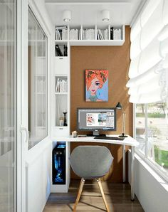 47 Turning Small Balcony into Home Office Ideas - Unique Balcony & Garden Decoration and Easy DIY Ideas Home Office Design, Home Office Decor, Home Interior Design, Home Decor, Office Ideas, Small Balcony Decor, Small Balcony Design, Balcony Decoration, Apartment Balcony Decorating