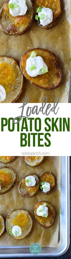 Loaded Potato Skin Bites Recipe - Loaded Potato Skin Bites Recipe - These loaded potato skin bites include everything you love about loaded potato skins in an easy bite! // addapinch.com
