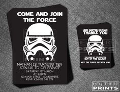 Storm Trooper Birthday Invitations and Thank You Cards - Star Wars - Darth Vader by HeyTherePrints on Etsy https://www.etsy.com/listing/190039487/storm-trooper-birthday-invitations-and