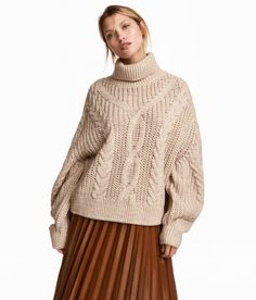 Check this out! Wide-cut turtleneck sweater in textured-knit wool-blend fabric. Dropped shoulders and wide sleeves. - Visit hm.com to see more.