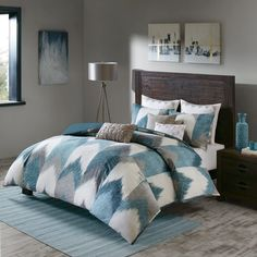 Add a touch of chic, modern style to your bedroom's décor with the modern INK+IVY Alpine Duvet Cover Set. The fresh and trendy bedding features a broken chevron print in rich hues that is sure to match any décor. Queen Comforter Sets, Duvet Sets, Duvet Cover Sets, Queen Duvet, Comforter Cover, Pillow Covers, Pillow Shams, California King Duvet Cover, Bed Sets