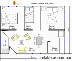 planos de casas pequeñas con 2 habitaciones con medidas - Buscar con Google