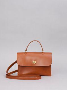 Tan Hebe Top Handle Leather Shoulder Bag - Trouva