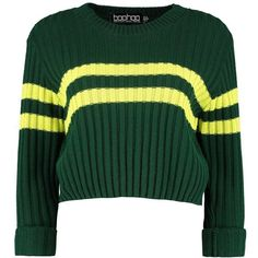 Boohoo Sophie Sports Stripe Rib Knit Jumper (405 UAH) ❤ liked on Polyvore featuring tops, sweaters, sleeve top, striped jumper, sport sweaters, green top and green striped sweater