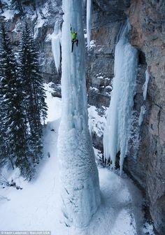 The Fang - Veil Colorado Ice Climbing up a 100 ft pillar of ice