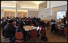 Paintings Conservator Wendy Partridge presented a lecture on the WPA mural series by African- American artist Elmer Brown to a group of college students, faculty, staff, and members of the general public during Black History month.