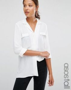 ASOS TALL Clean Pajama Blouse With Pocket Detail