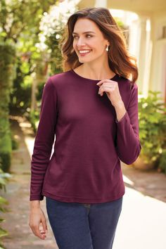 You'll love the ease of this go-with-anything tee. Our best polyester/cotton or cotton/polyester interlock knit. Short Person, Knit Shirt, Petite Size, Cotton Tee, Lounge Wear, Michigan, Long Sleeve Tees, Turtle Neck, Plus Size